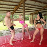Mind-blowing chicks Stevie and Shae stretch out before forcing a guy to adore their asses