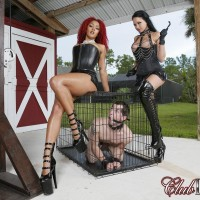Killer stunners Daisy Ducati and Raven Bay dominate male subs during outdoor action