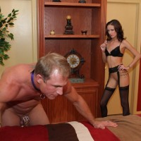 Lumbering light-haired Domina Haily Youthfull forcing man to submit to her femdom desires