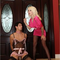 Spindly yellow-haired wife Victoria whipping out enormous hooters before abasing collared subby husband