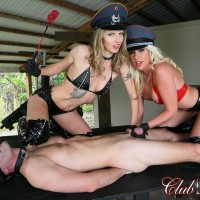 Stellar blondes Cherry Morgan and Alina top a male sub outdoors in latex fetish wear