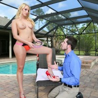 Hot blonde Vanessa Cage goes topless while sub male worships her by the pool