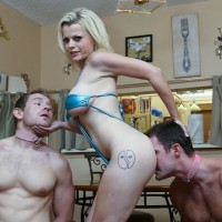 Tatted golden-haired Nadia Milky having collared male slaves idolization barefeet