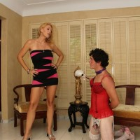 Tall blonde girlfriend Charlee Pursue makes her subby hubby submit to her
