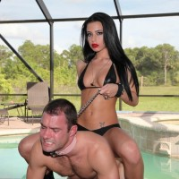 Wonderful brunette mistress Adriana Lynn leading collared subby husband by leash in high heels